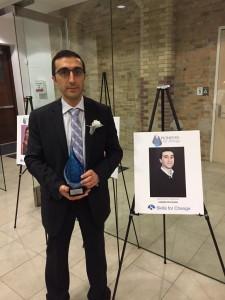 Gerard Keledjian receiving a Pioneers for Change award 2015
