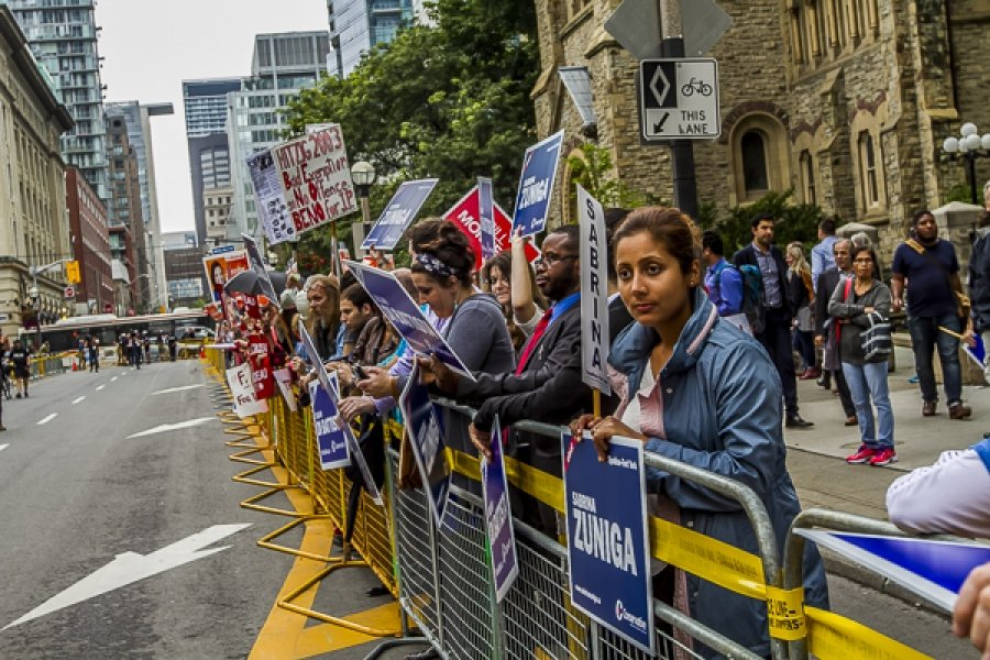 New Canadians particpating in political rallies