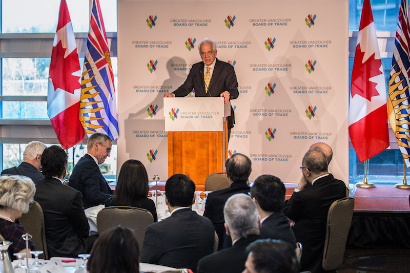 The Honourable John McCallum, Minister of Immigration, Refugees and Citizenship addresses members of the Greater Vancouver Board of Trade in Vancouver, BC. Friday March 18, 2016, Photo by Carmine Marinelli