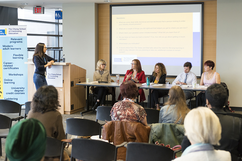 The panelists (from left to right) Ellen Vanstone; Film Studies, Melanie Vail; Human Resources, Joanna Kader; Data Analytics, Big Data and Predictive Analytics, Michael Jacoby; Nonprofit and Voluntary Sector Management, and Anita Dundys; Fundraising Management.