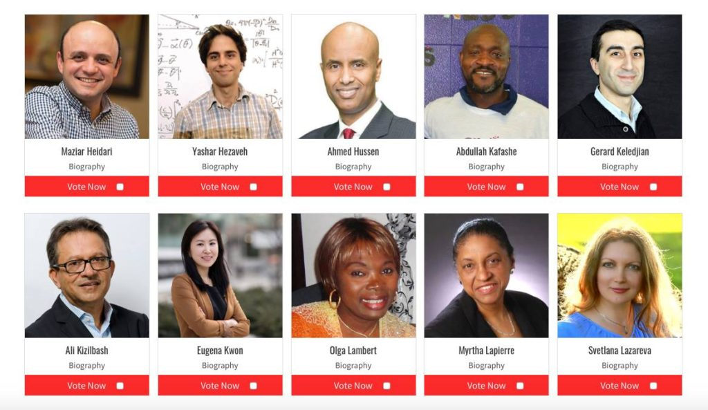 Voting for the RBC Top 25 Canadian Immigrant Awards has begun