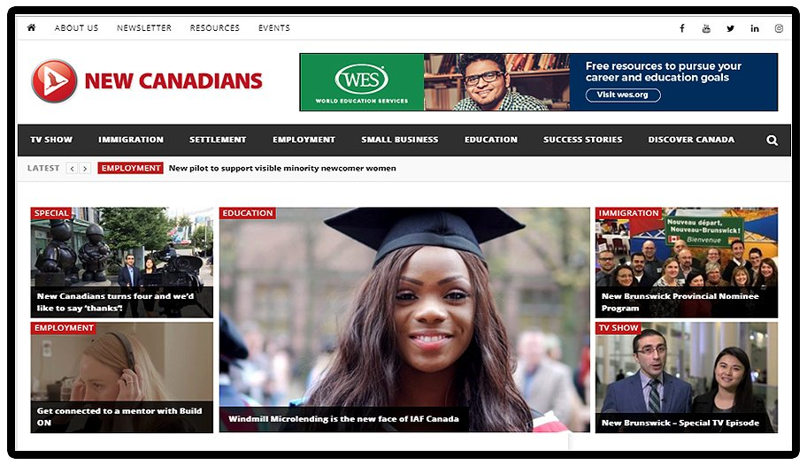 Your guide to New Canadians' relaunched website